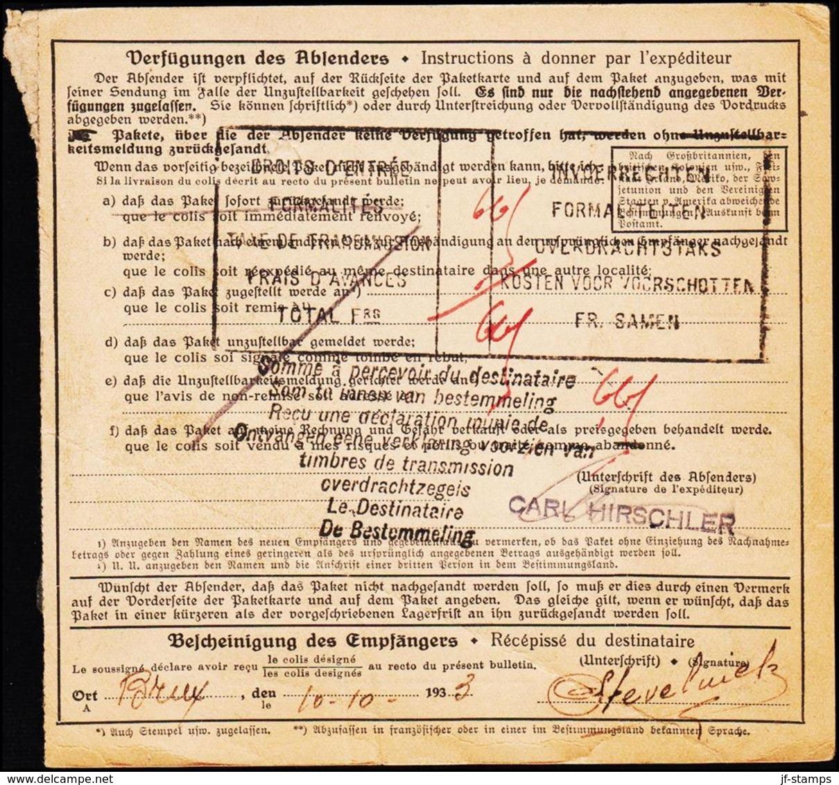 1933. PAKETKARTE 2 MARK + 50 + 15 PF. LUDWIGSHAFEN 4.10.39. BRUXELLES 10.X.39. (Michel 365) - JF125725 - Deutschland