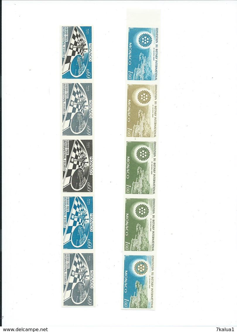 MONACO : Essai De Couleur Des N° 724 Et 726. Non Dentelé, Gomme Parfaite **. - Collections (sans Albums)