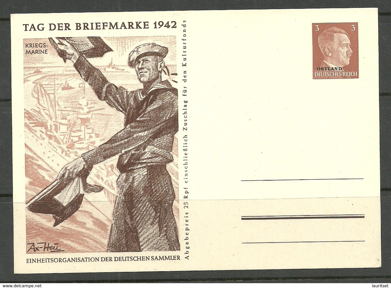 ESTLAND Estonia 1942 German Occupation Ostland OPT Illustrated Post Card Postal Stationery Unused - Occupation 1938-45