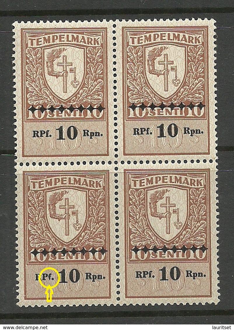 ESTLAND Estonia 1941 German Occupation Stempelmarke 10 RPf 4-Block + ERROR Abart MNH - Occupation 1938-45