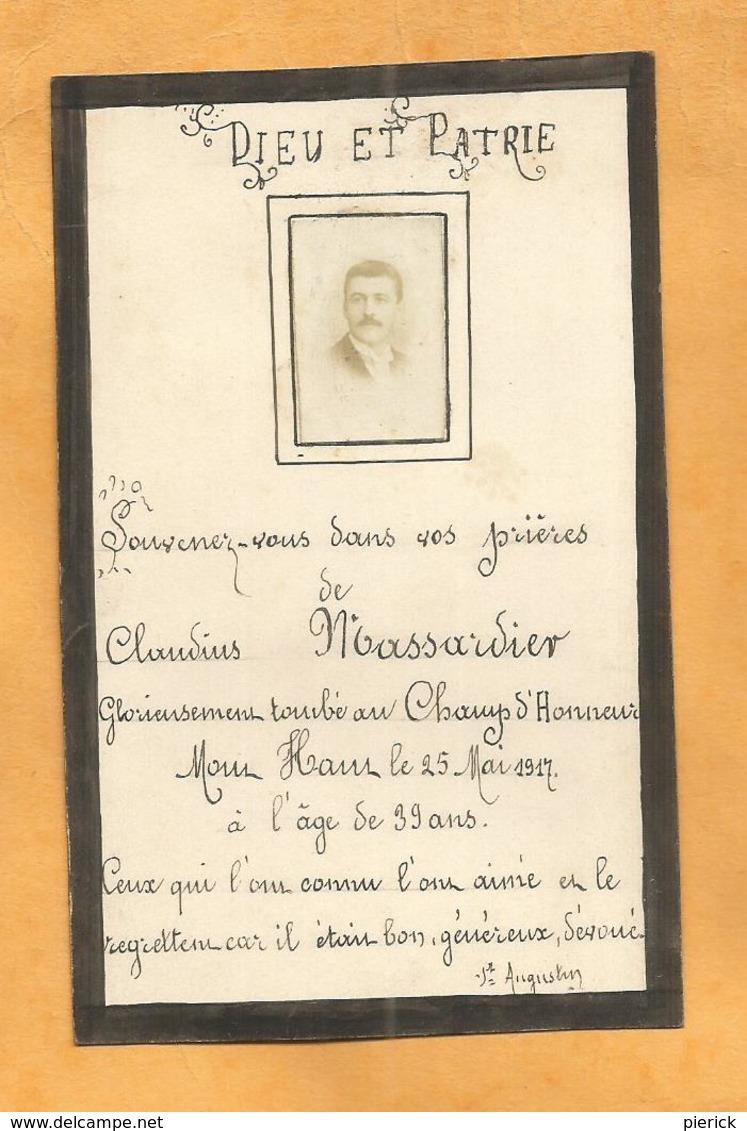 FAIRE PART DECES POILU WWI  SOLDAT  MASSARDIER 1917 MONT HAUT MORONVILLIERS 365 EME RI - Documents