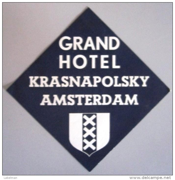 HOTEL MOTEL RESIDENCE PENSION AMSTERDAM KRASNAPOLSKY HOLLAND NETHERLANDS DECAL STICKER LUGGAGE LABEL ETIQUETTE AUFKLEBER - Hotel Labels