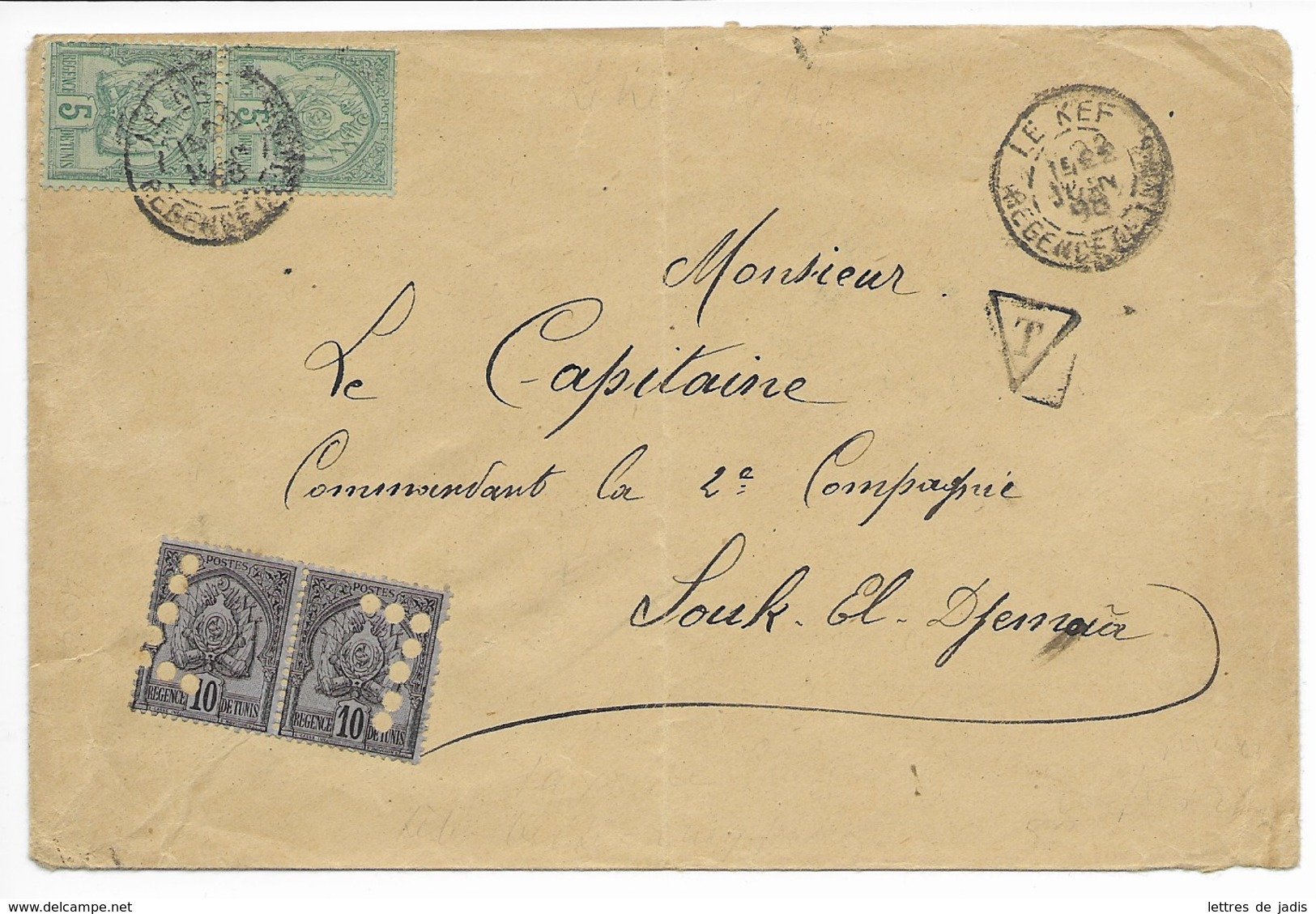 Env  Cad LE KEF  22 Juin 1898 Taxée Pour SOUK EL DJEMAA  TB - Covers & Documents