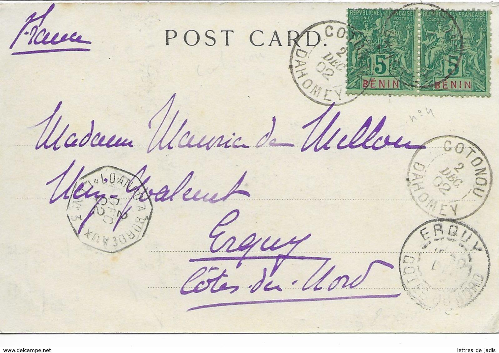 CP Cad COTONOU (dahomey) 2 Dec 1902 Pour ERQUY TTB - Dahomey (1899-1944)