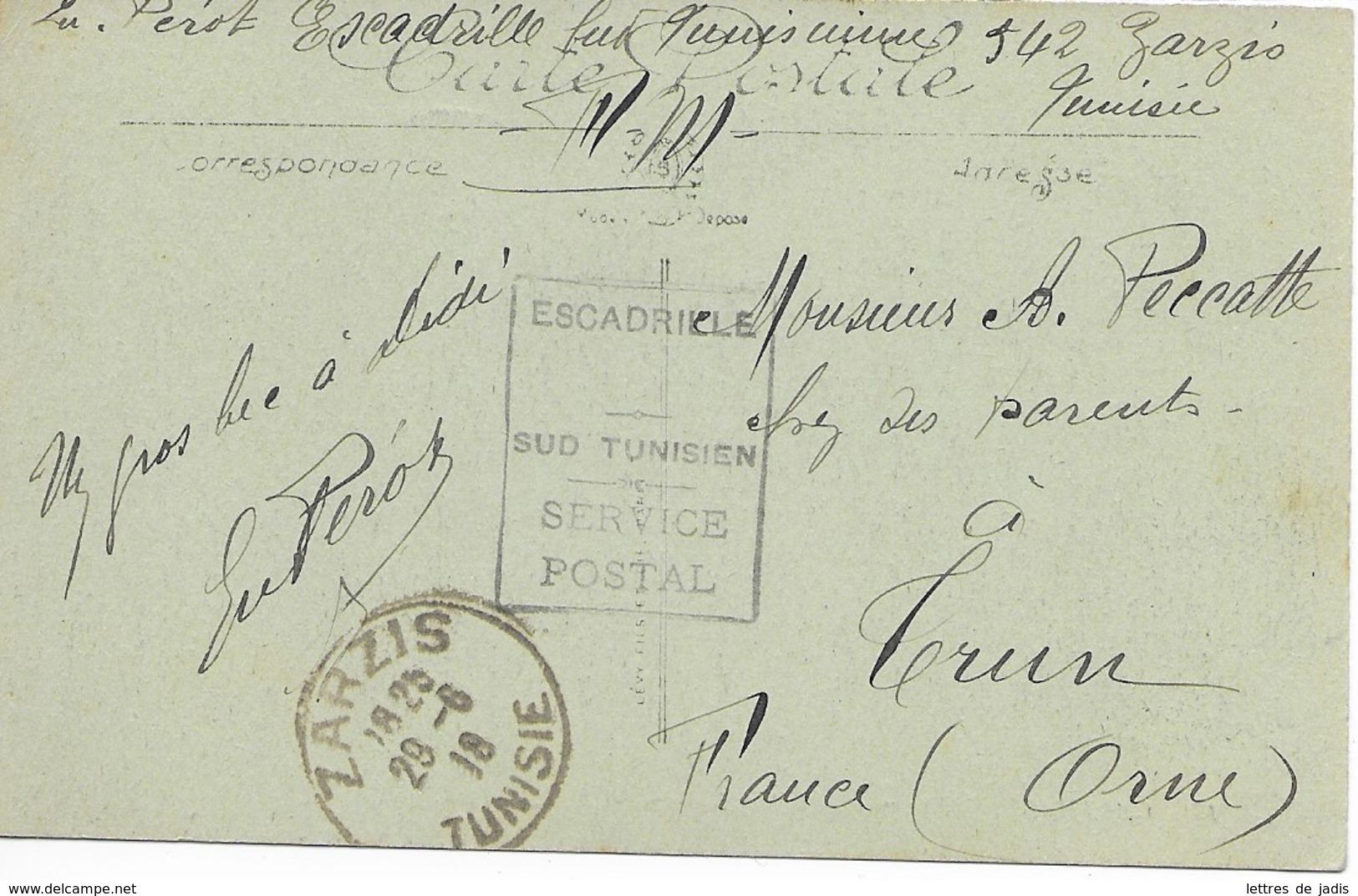 CP Cad ZARZIS (tunisie) 29/6/1918 Cachet  ESCADRILLE SUD TUNISIEN Pour La France TTB - Postmark Collection (Covers)