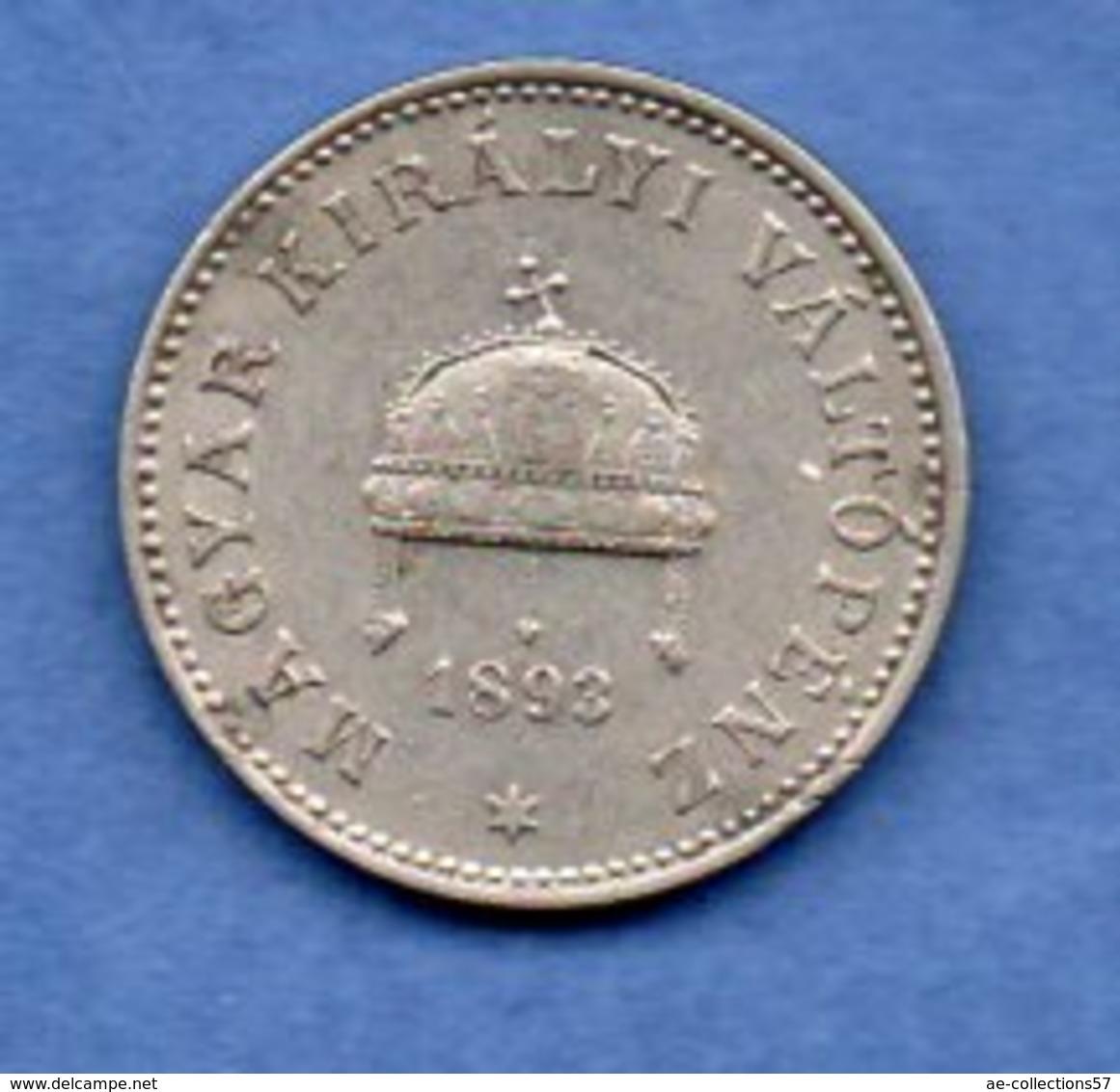 Hongrie - 20 Filler 1893 KB --   Km # 483   -  état   TTB+ - Hongrie