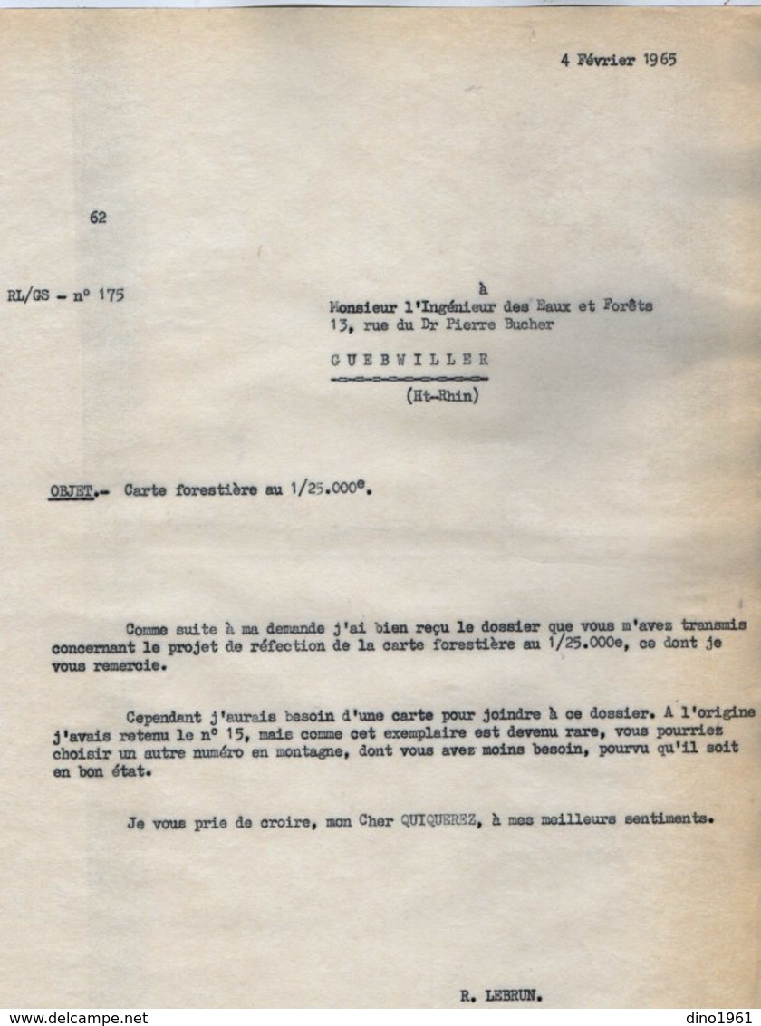 VP14.423 - 1965 - Lettre De Mr LEBRUN à Mr QUIQUEREZ Ingénieur Des Eaux & Forêts à GUEBWILLER - Old Paper