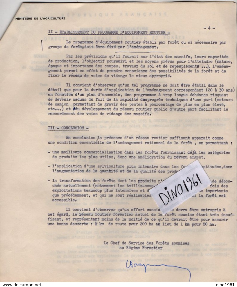 VP14.430 -  PARIS 1962 - Lettre De Mr Le Chef De Service Des Fôrets ...Préparation Du Symposium En 1963 à GENEVE ...... - Old Paper