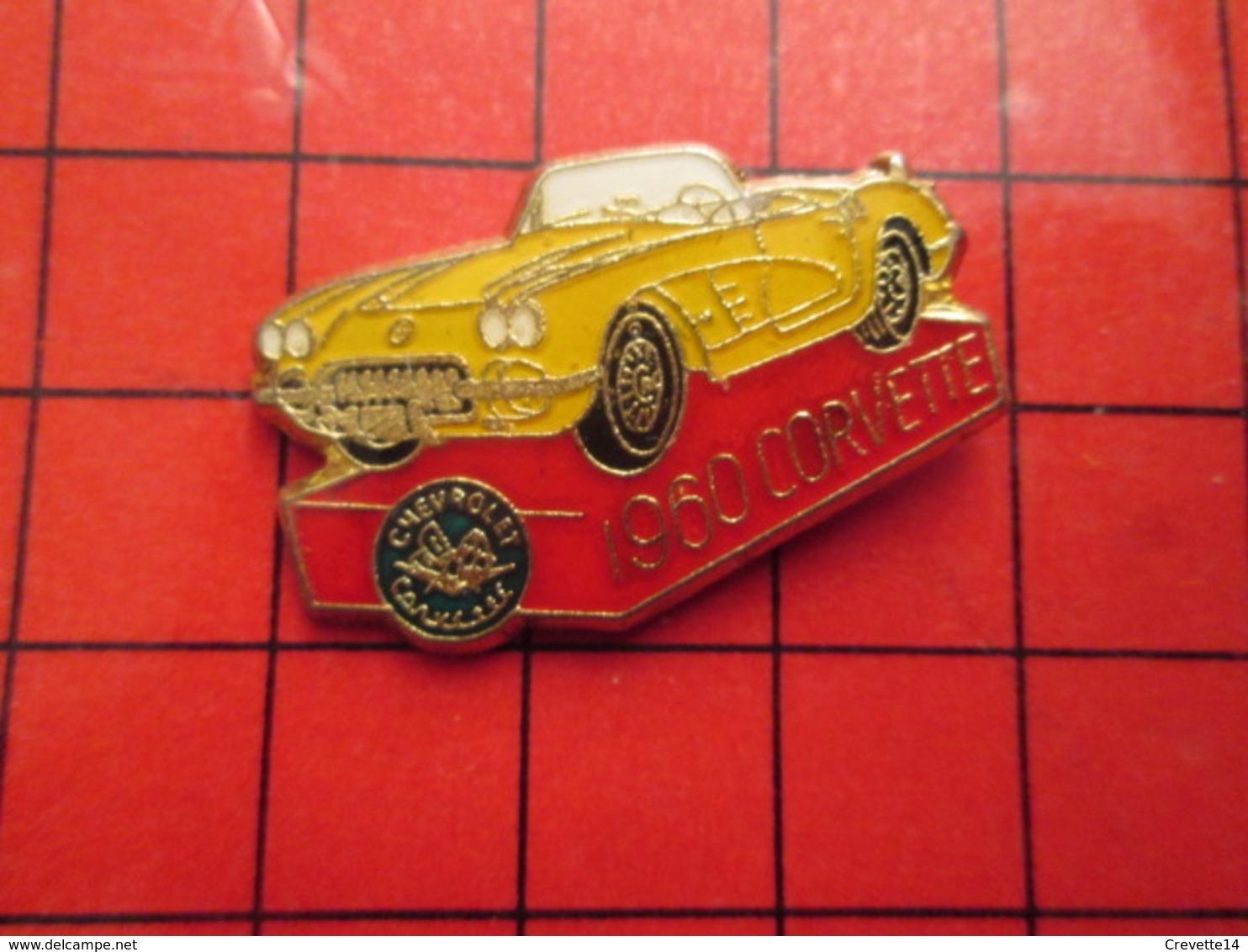1315a Pin's Pins / Beau Et Rare : THEME : AUTOMOBILE / CHEVROLET CORVETTE JAUNE 1960 - Corvette