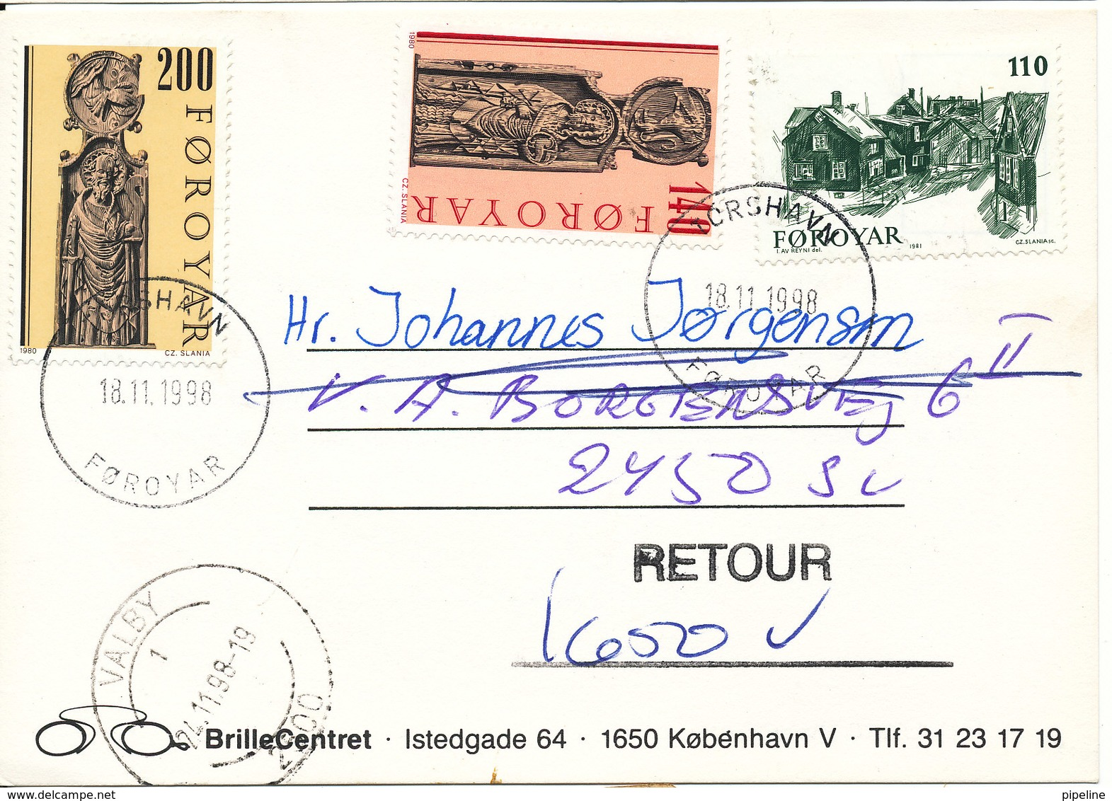 Faroe Islands Postcard Thorshavn 18-11-1998 Sent To Denmark And Returned (unknown At The Address) - Faroe Islands