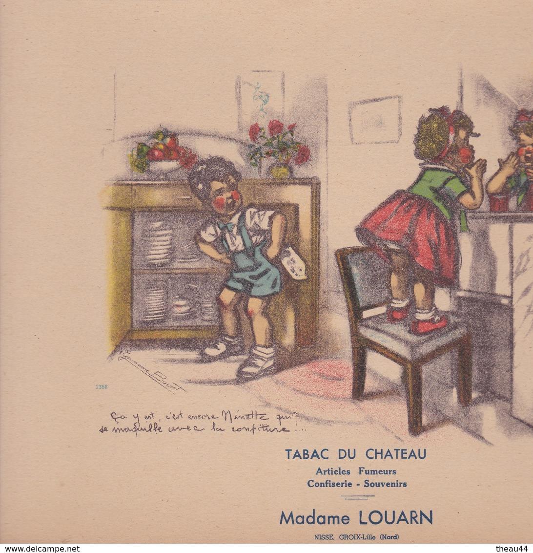 """ILLUSTRATEUR """" Germaine BOURET C"""" - Carton Publicitaire Du Tabac Du Chateau """"Mme LOUARN"""" à CROIX (59) - Voir Description - Bouret, Germaine"""