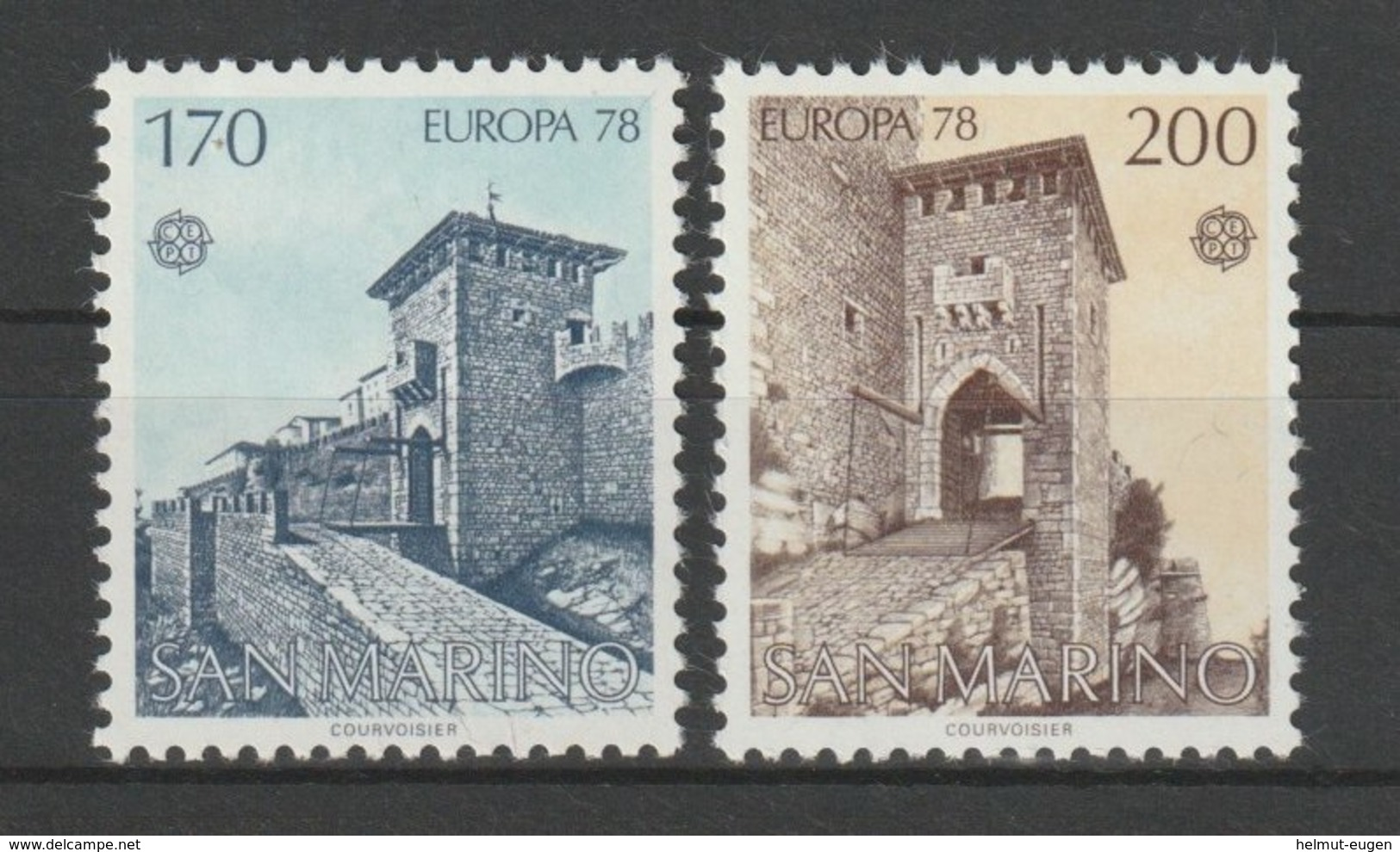 MiNr. 1156 - 1157  San Marino 1978, 30. Mai. Europa: Baudenkmäler. RaTdr. (105); Gez. K 11. - Ungebraucht