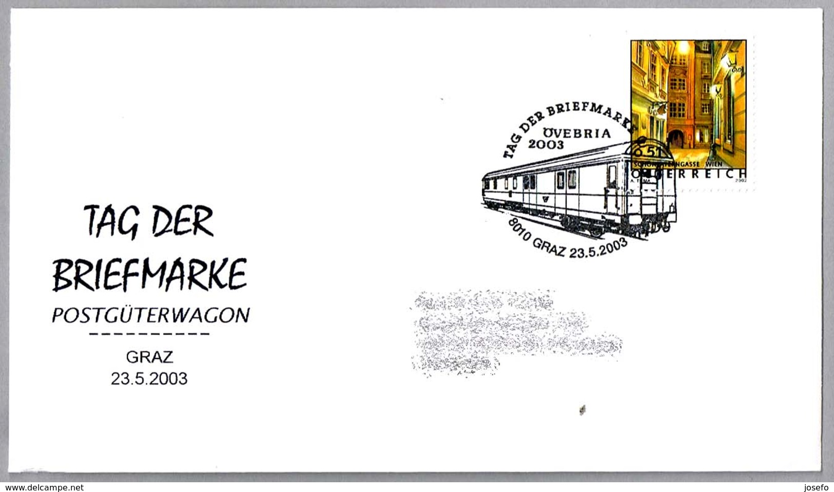 DIA DEL SELLO - VAGON POSTAL - POSTAL WAGON - POSTGÜTERWAGON. Graz 2003 - Correo Postal