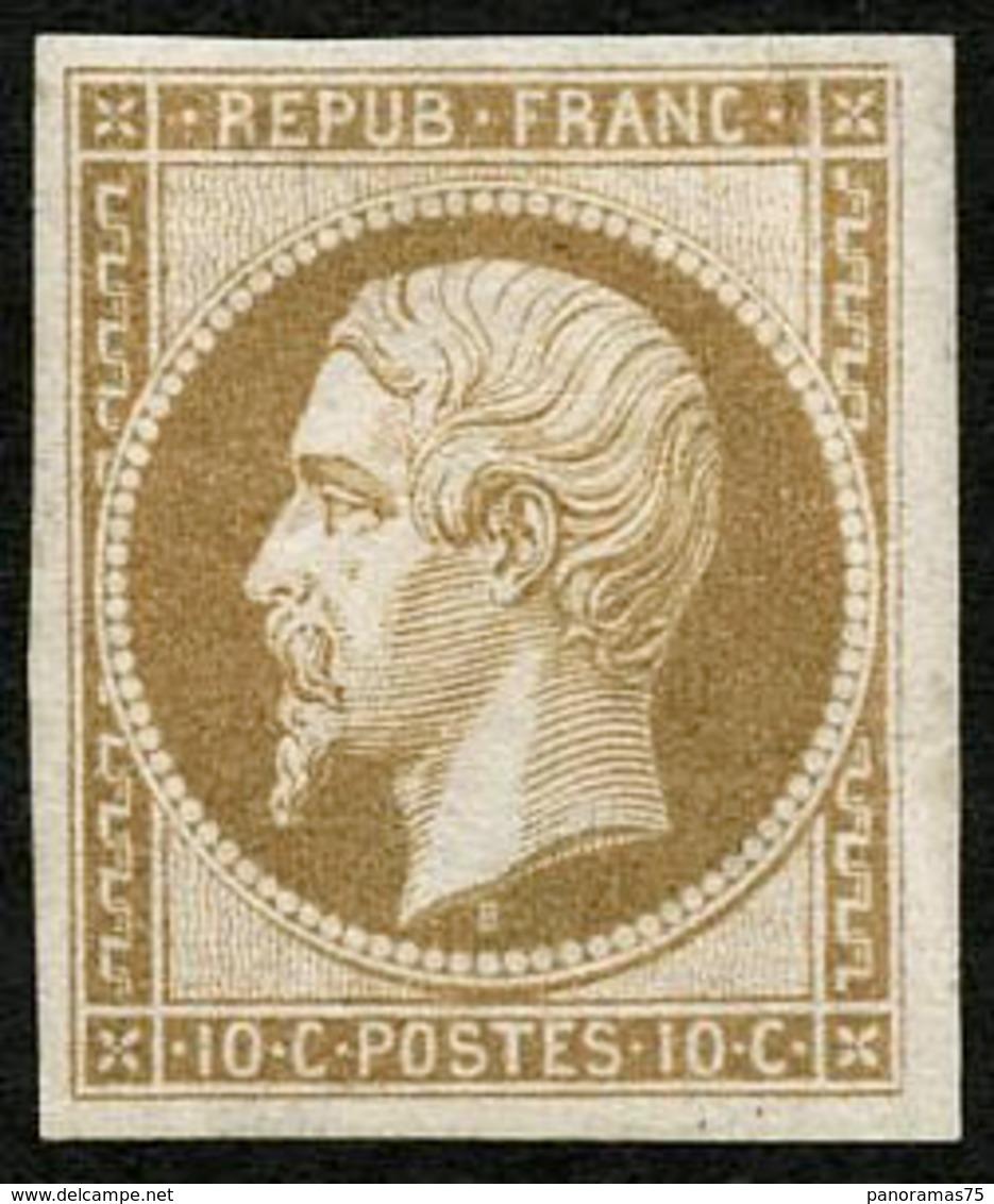 ** N°9e 10c Bistre, Réimp, Pli De Gomme Vertical - B - 1852 Luigi-Napoleone