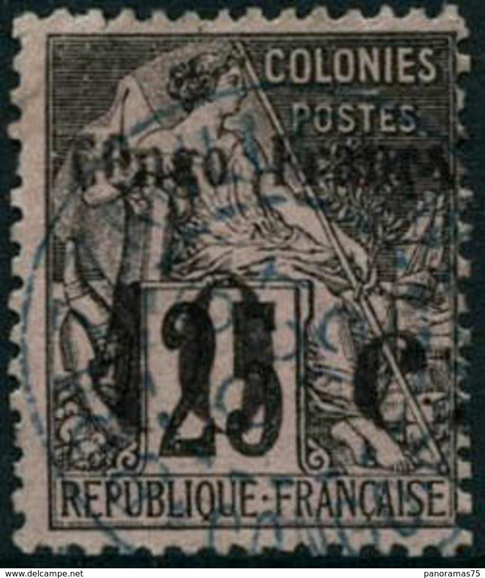 Oblit. N°5 10c Sur 25c Noir S/rose - TB - Congo Français (1891-1960)