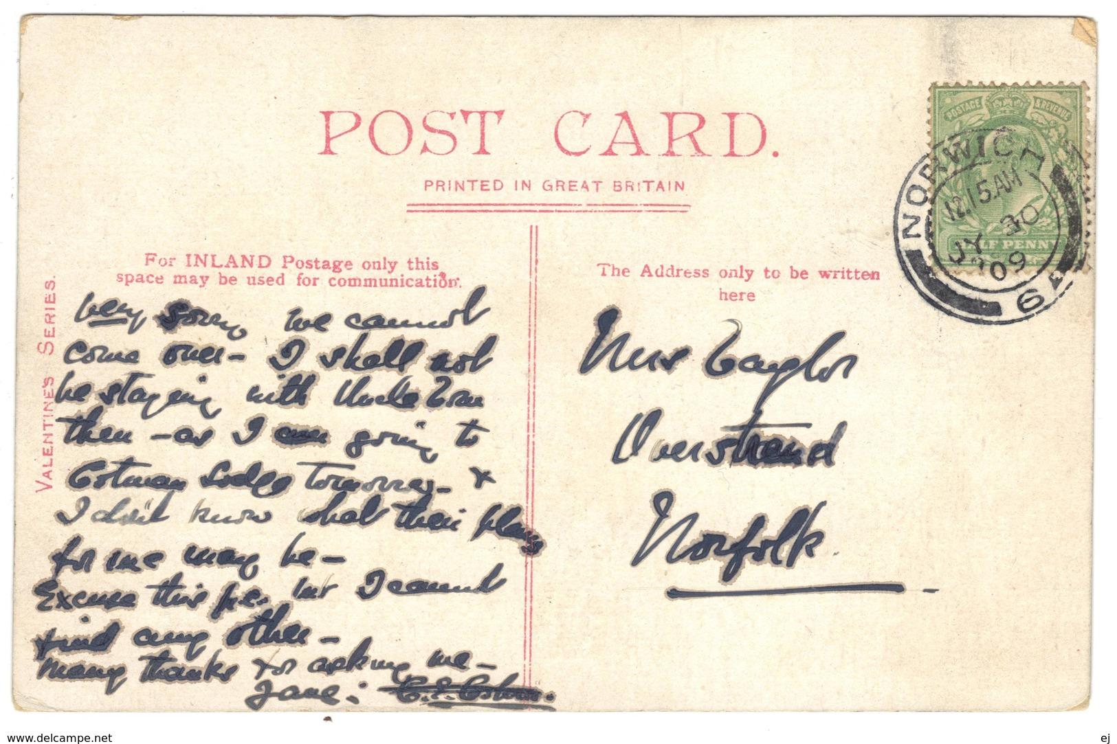 Wellington Terrace Sandgate Postmark 1909 - Valentines - England