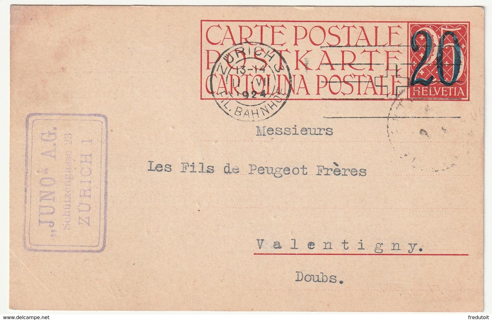 SUISSE - ENTIER POSTAL - Zürich Le 11/07/1924 - Interi Postali