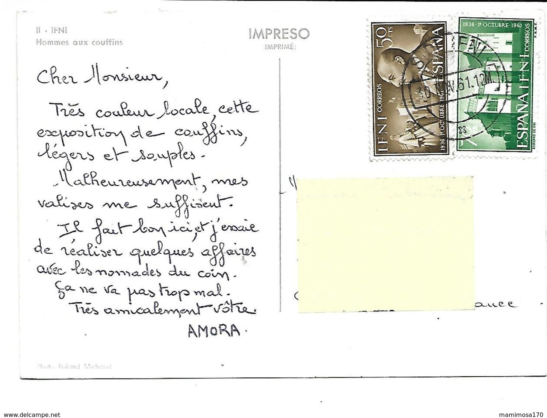 Afrique-IFNI-ESPAGNE-Hommes Aux COUFFINS-PUB.Collection AMORA-TIMBRE-Obliteration-1961 - Cartoline