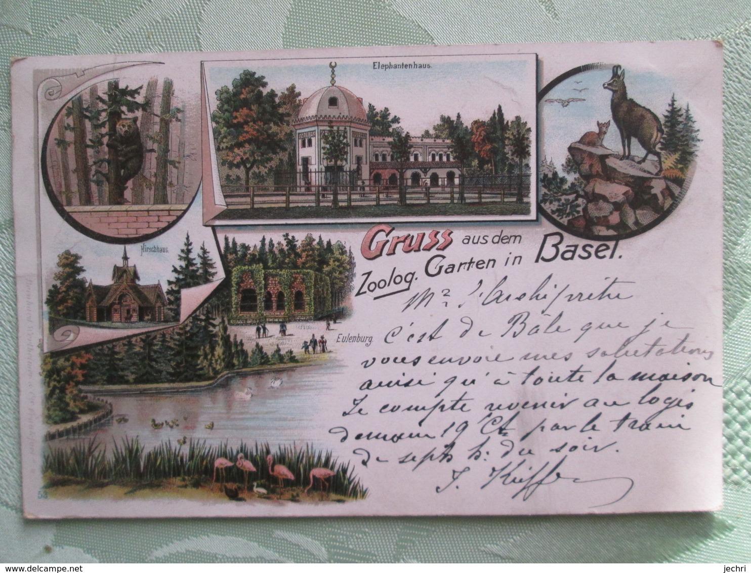 Gruss Aus Dem Zoolog Garten In Basel 1899 - BS Basle-Town