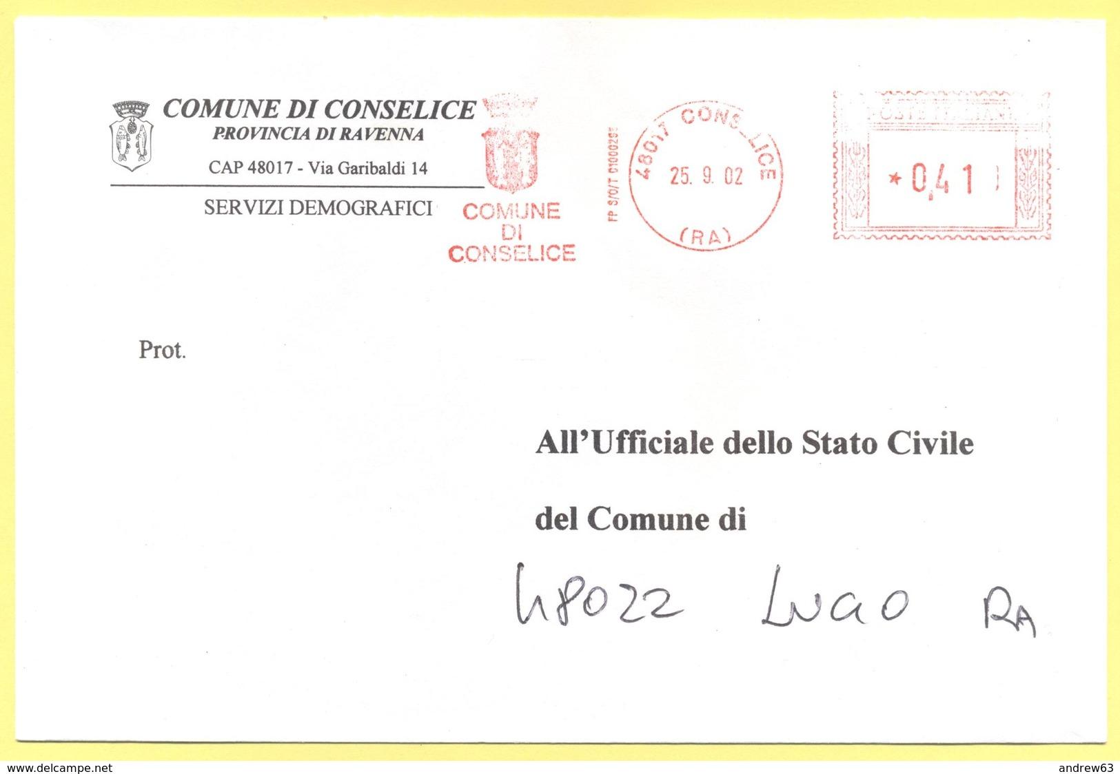 ITALIA - ITALY - ITALIE - 2002 - 0,41 EMA, Red Cancel - Comune Di Conselice - Viaggiata Da Conselice Per Lugo - Affrancature Meccaniche Rosse (EMA)