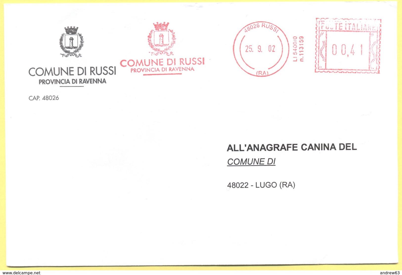 ITALIA - ITALY - ITALIE - 2002 - 00,41 EMA, Red Cancel - Comune Di Russi - Viaggiata Da Russi Per Lugo - Affrancature Meccaniche Rosse (EMA)