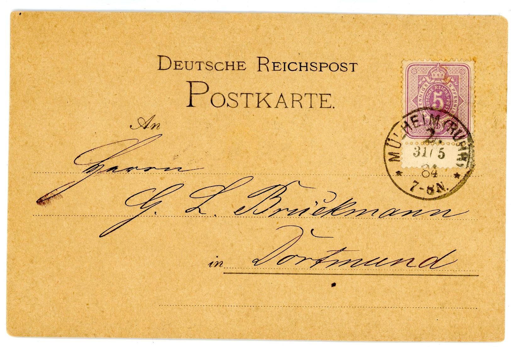 """Nr. 40 EF Mit Zwischenstegansatz Postkarte """"Mülheim - Dortmund"""" Klarer K 1 - Briefe U. Dokumente"""