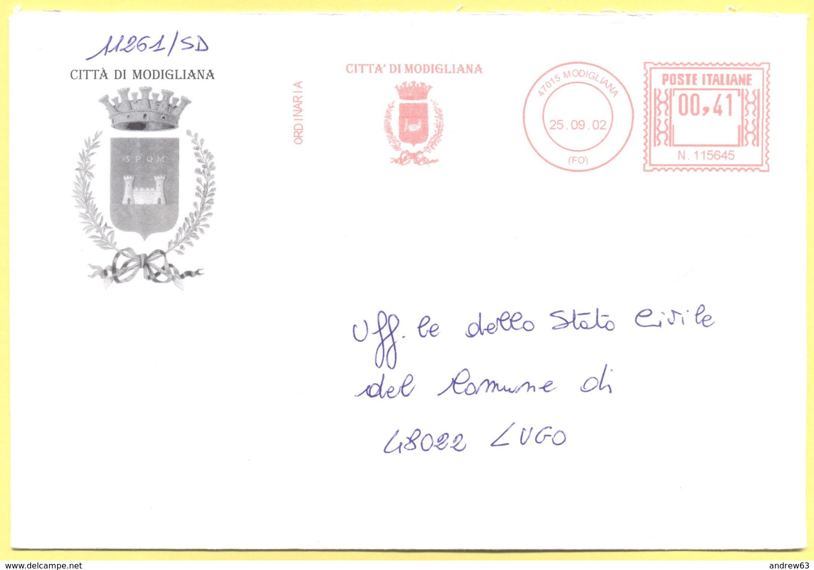 ITALIA - ITALY - ITALIE - 2002 - 00,41 EMA, Red Cancel - Città Di Modigliana - Viaggiata Da Modigliana Per Lugo - Affrancature Meccaniche Rosse (EMA)
