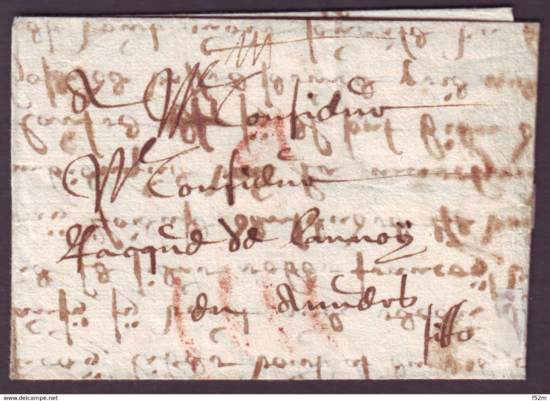 Lettre Du Dept De L'Aisne (?) Du 5-12-1674 + Taxe En Rouge Pour Anvers (Belgique) - Marcophilie (Lettres)