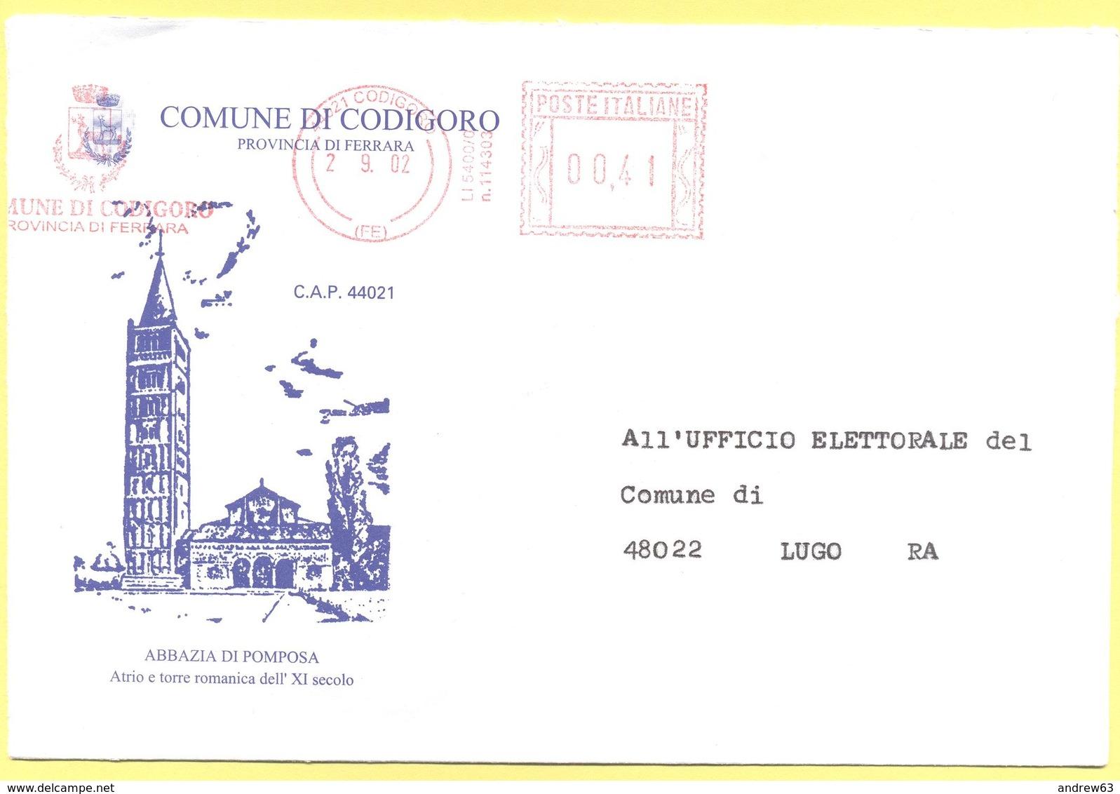 ITALIA - ITALY - ITALIE - 2002 - 00,41 EMA, Red Cancel - Comune Di Codigoro - Viaggiata Da Codigoro Per Lugo - Affrancature Meccaniche Rosse (EMA)