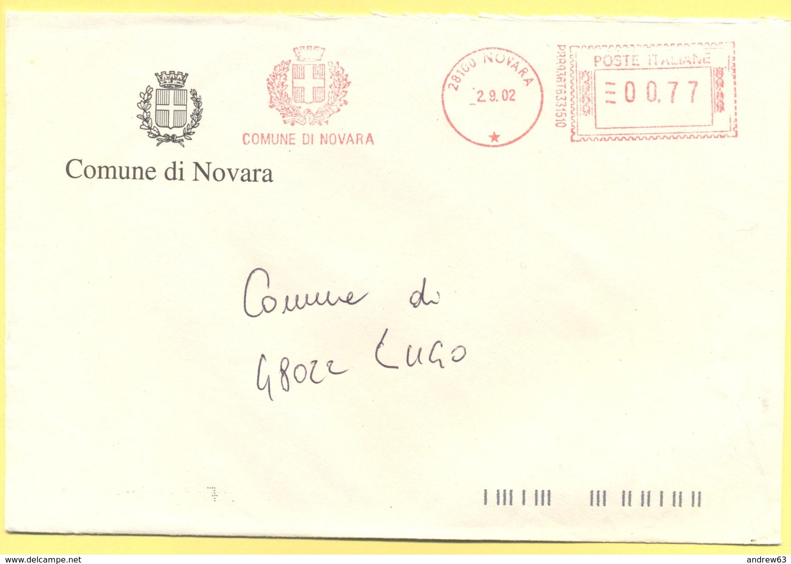 ITALIA - ITALY - ITALIE - 2002 - 00,77 EMA, Red Cancel - Comune Di Novara - Viaggiata Da Novara Per Lugo - Affrancature Meccaniche Rosse (EMA)