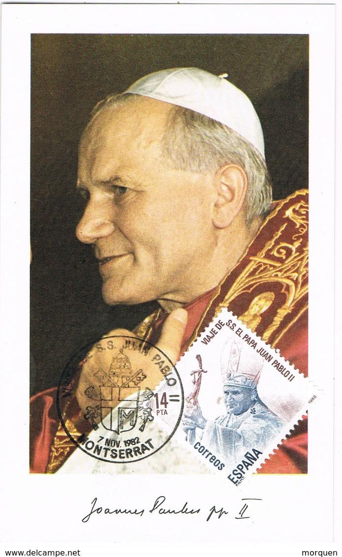 31478. Tarjeta Maxima MONTSERRAT (barcelona) 1982. Viaje Papa Juan Pablo II - Tarjetas Máxima