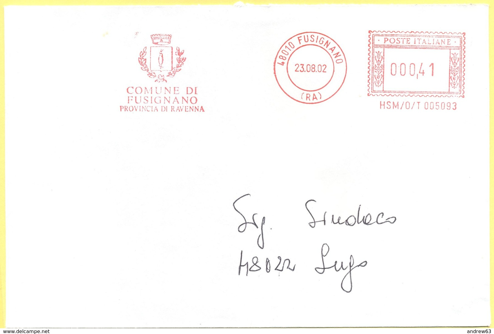 ITALIA - ITALY - ITALIE - 2002 - 0,41 EMA, Red Cancel - Comune Di Fusignano - Viaggiata Da Fusignano Per Lugo - Affrancature Meccaniche Rosse (EMA)