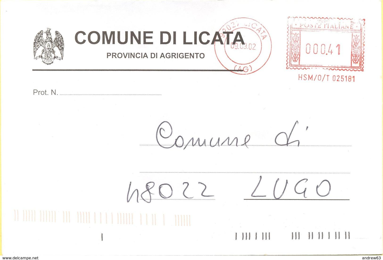 ITALIA - ITALY - ITALIE - 2002 - 0,41 EMA, Red Cancel - Comune Di Licata - Viaggiata Da Licata Per Lugo - Affrancature Meccaniche Rosse (EMA)