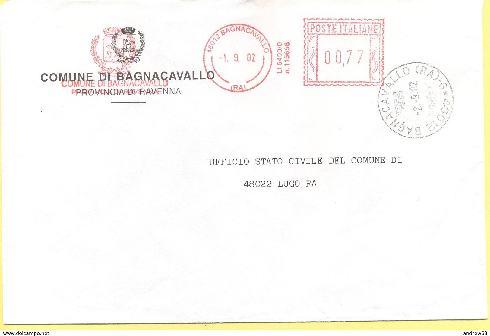 ITALIA - ITALY - ITALIE - 2002 - 0,77 EMA, Red Cancel - Comune Di Bagnacavallo - Viaggiata Da Bagnacavallo Per Lugo - Affrancature Meccaniche Rosse (EMA)