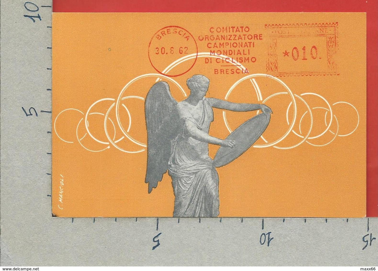 ITALIA 1962 - Comitato Organizzatore Campionati Mondiali Ciclismo BRESCIA - Meccanica Rossa 30 - 08 - 1962 - Affrancature Meccaniche Rosse (EMA)