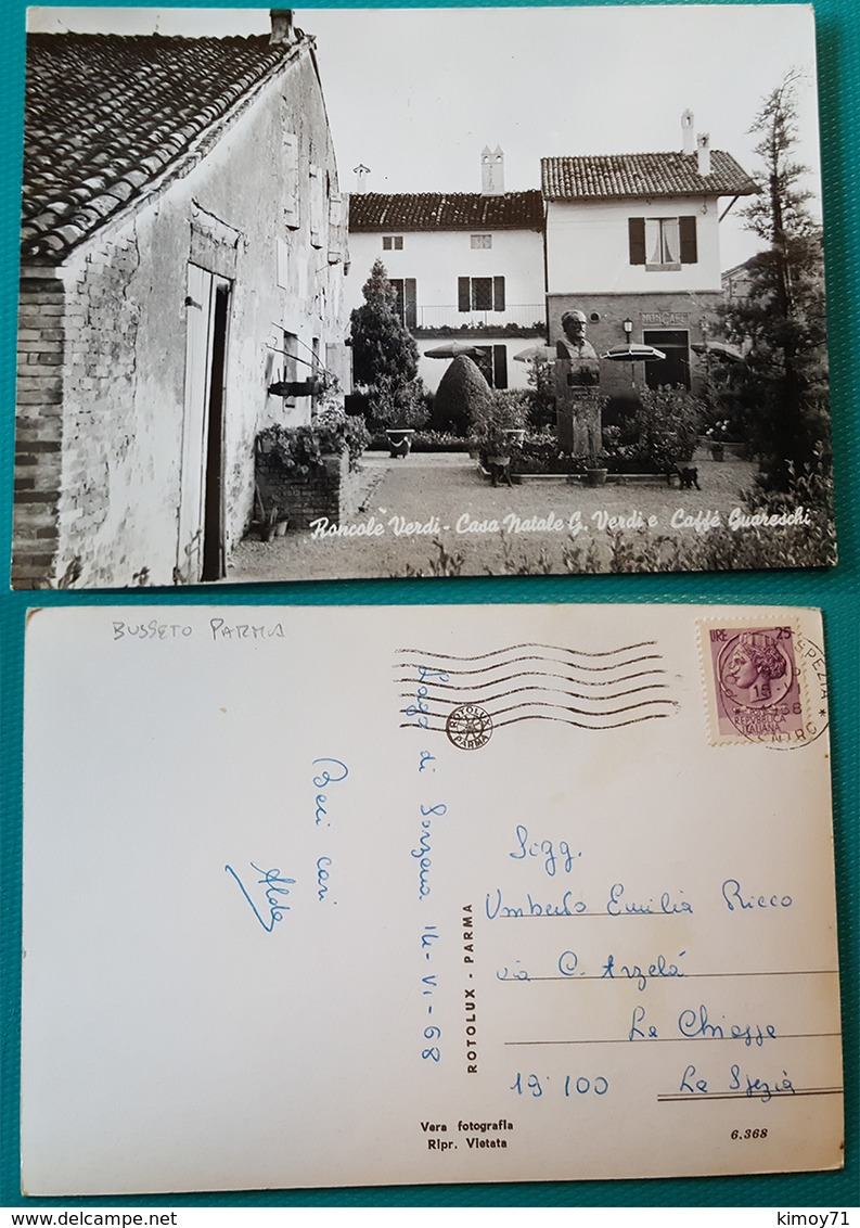 Cartolina Roncole Verdi (Parma) - Casa Natale Di G. Verdi E Caffè Guareschi. Viaggiata 1958 - Parma