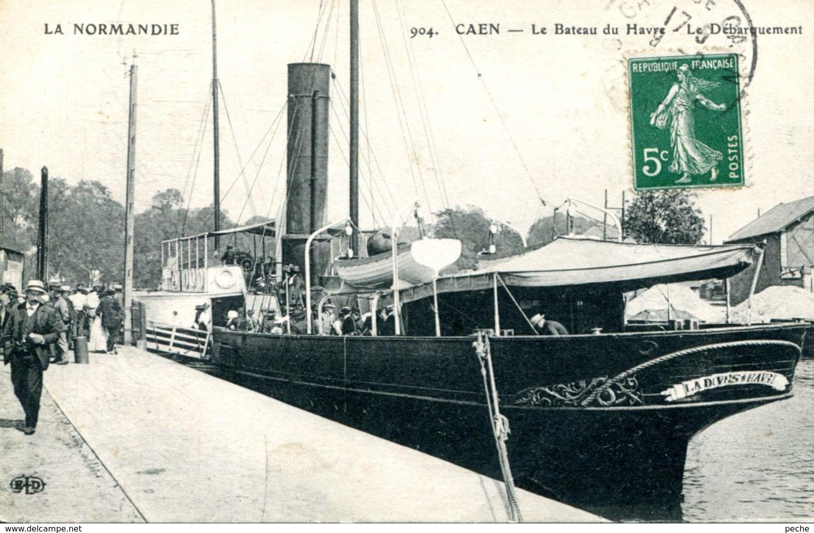 """N°2679 A -cpa Caen -le Bateau Du Havre """"la Dives"""" -débarquement- - Caen"""