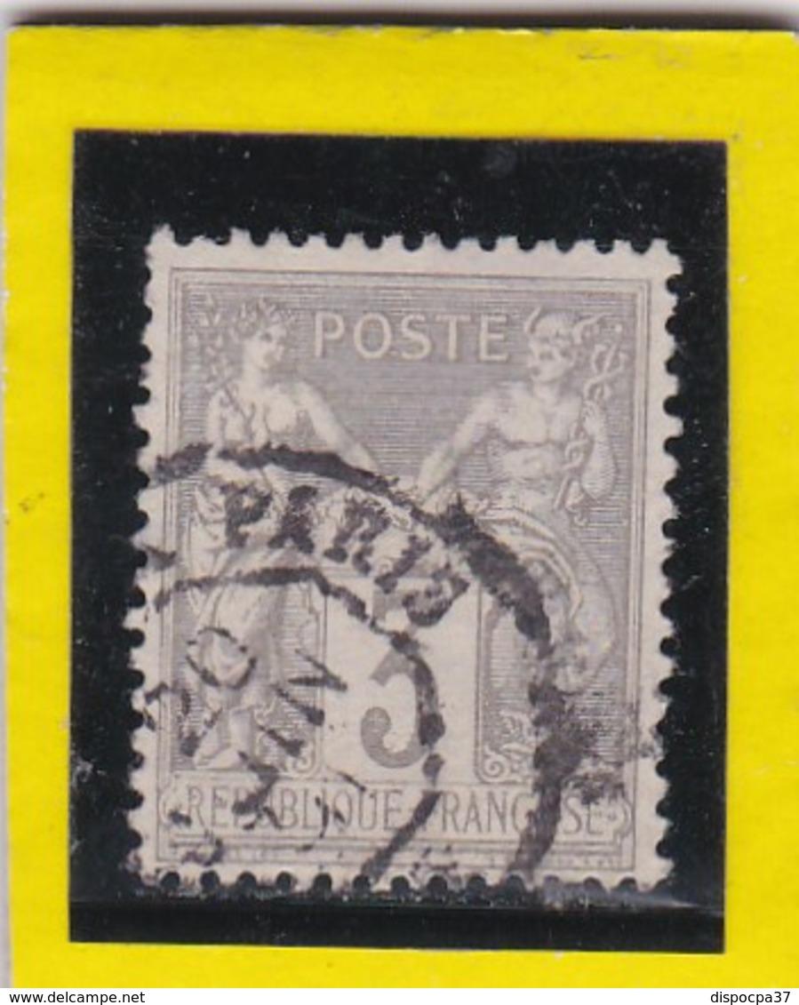 SAGE N° 87b     Gris Pâle Sur Gris Jaunâtre  + CAD   PARIS - 20 Juin  1891-  REF 14017 - 1876-1898 Sage (Type II)