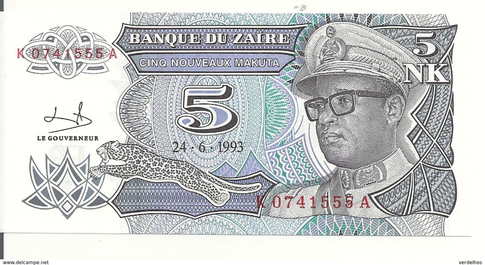 ZAIRE 5 NOUVEAUX MAKUTA 1993 UNC P 48 - Zaïre