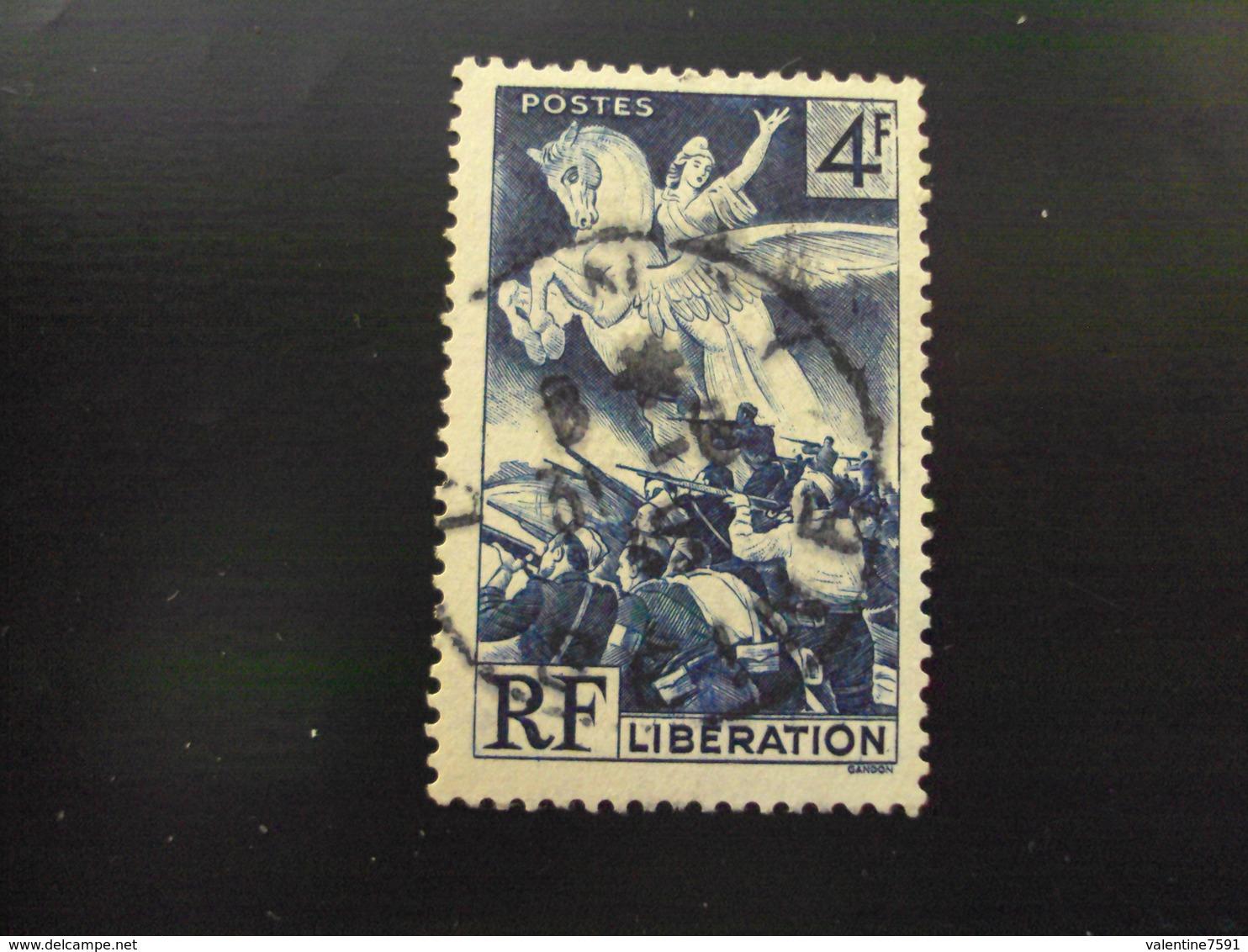 """1945   -timbre Oblitéré N° 669   """"    Liberation 4f Bleu  """"      Cote 0.50  Net 0.15 - Oblitérés"""