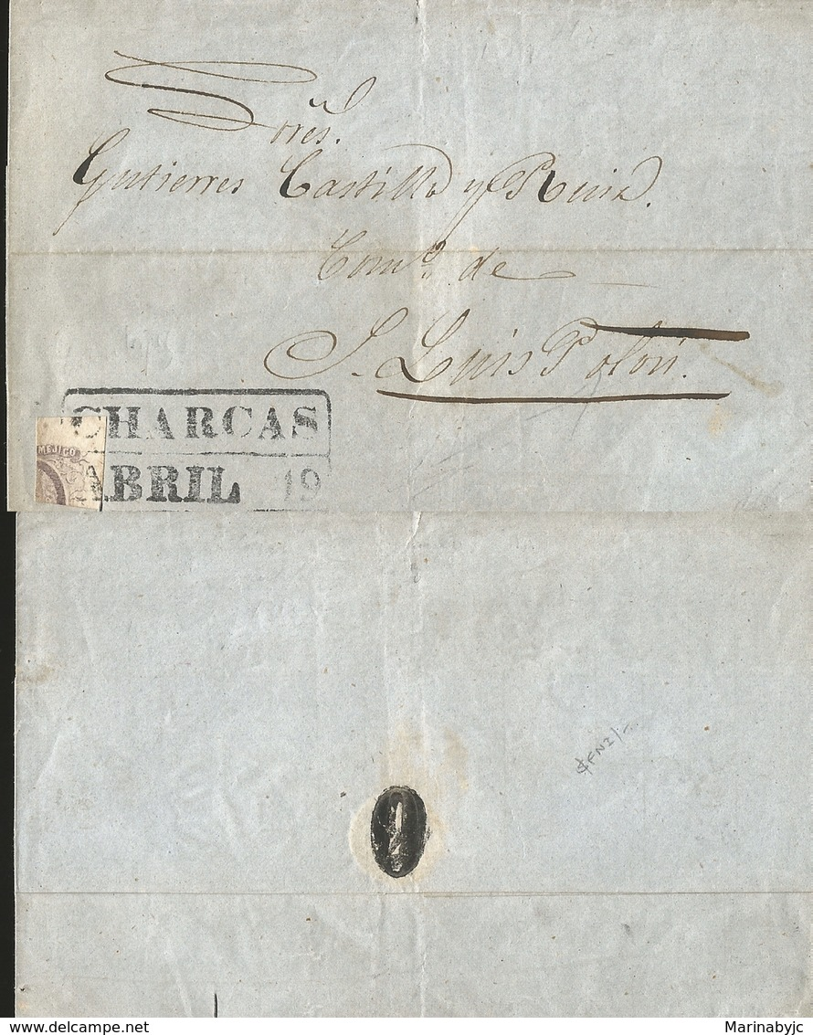 J) 1859 MEXICO, CLASSIC ISSUES AND BISECT, FRANKED WITH 1856 8 REALES LILAC, HIDALFO, ISSUE QUADRISECTED AND USED AS 2 R - Mexico