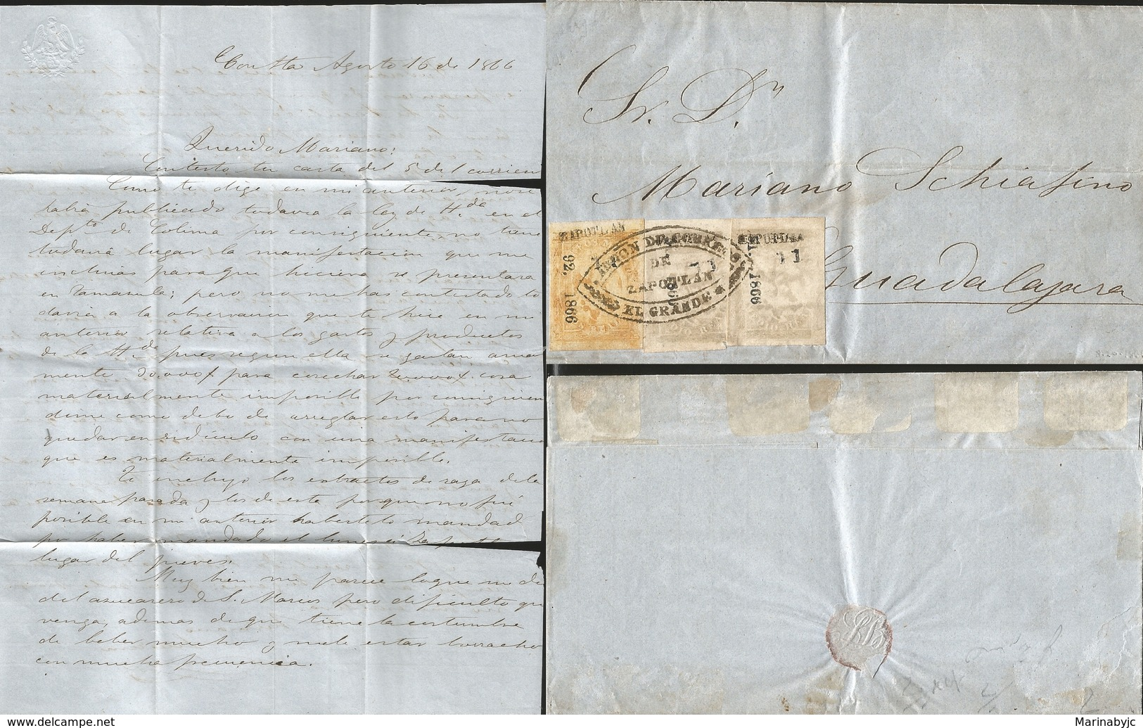 J) 1866 MEXICO, IMPERIAL EAGLE, MULTIPLE STAMPS, BLACK CANCELLATION, COMPLETE LETTER, CIRCULAR COVER, FROM ZAPOTLAN TO G - Mexico