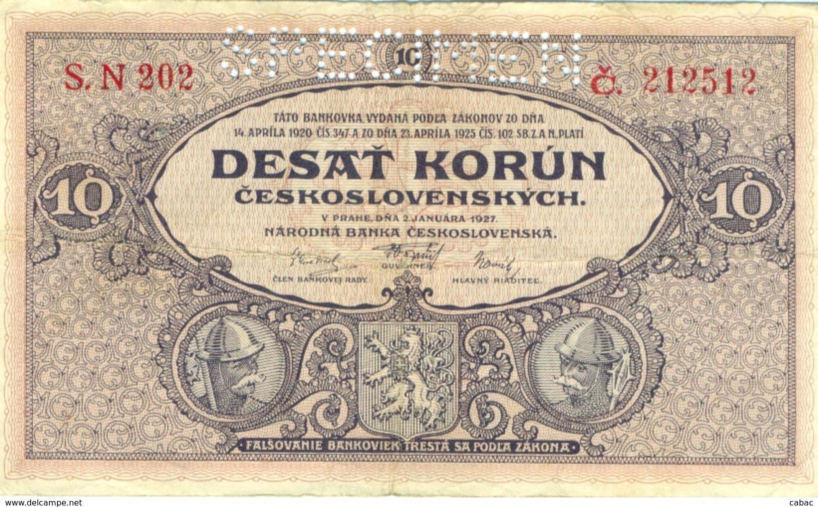 Czechoslovakia, 10 Korun, 1927, SPECIMEN,  Narodna Banka Češkoslovenska, Desat Korun, Zehn Kronen - Tchécoslovaquie
