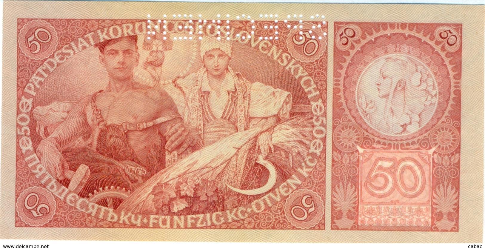 Czechoslovakia, 50 Korun, 1929, SPECIMEN,  Narodna Banka Češkoslovenska, Patdesiat Korun, Kronen, Pravda Vitezi, čislo - Tchécoslovaquie