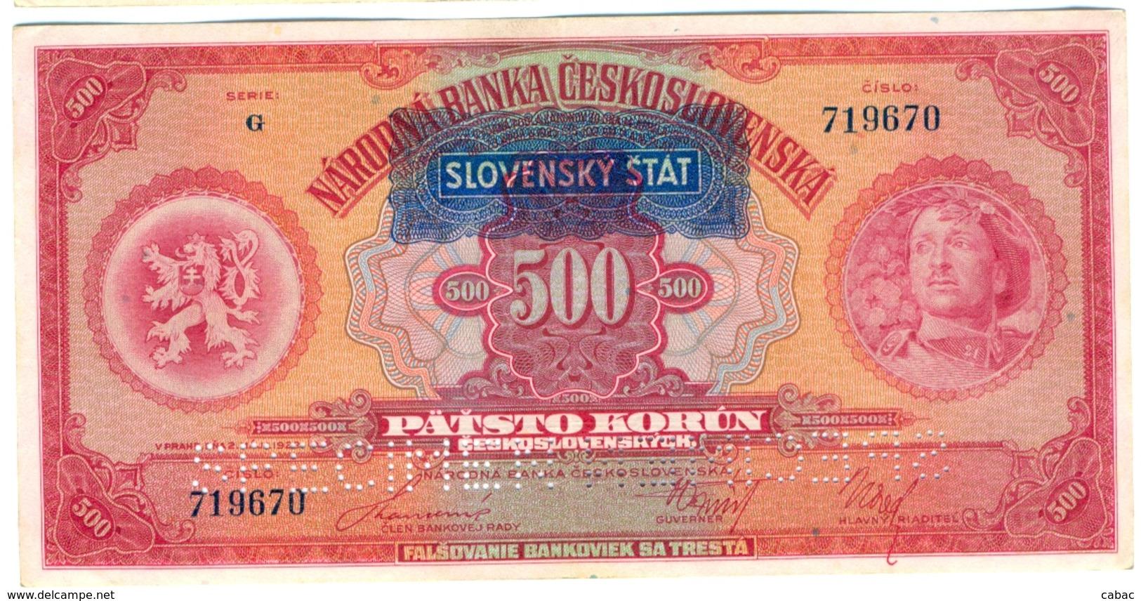 Czechoslovakia, 500 Korun, 1929, SPECIMEN, Narodna Banka Češkoslovenska, Patsto Korun, Serie G - Tchécoslovaquie