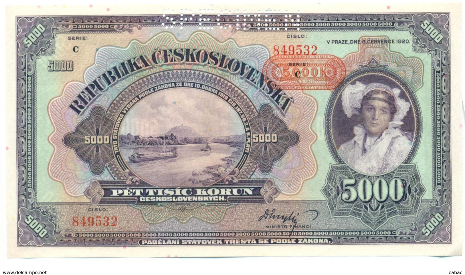 Czechoslovakia, 5000 Korun, 1920, SPECIMEN, Pet Tisic Korun, Narodna Banka Češkoslovenska, Serie C - Tchécoslovaquie