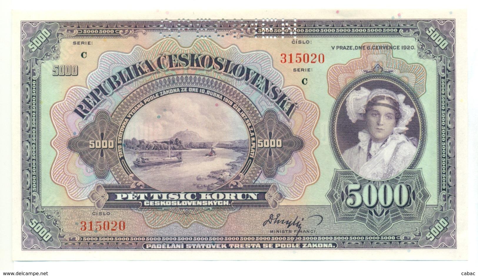 Czechoslovakia, 5000 Korun, 1920, SPECIMEN, Pet Tisic Korun, Narodna Banka Češkoslovenska, Serie C (2) - Tchécoslovaquie