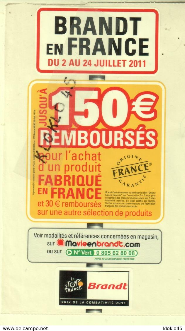 Planche D'autocollants - BRANDT EN FRANCE DU 2 AU 24 JUILLET 2011 - 150€ REMBOURSES - Le Tour De France - Stickers