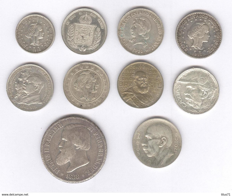 Lot De 10 Monnaies Argent Brésil / Brasil TTB à Sup - Brésil