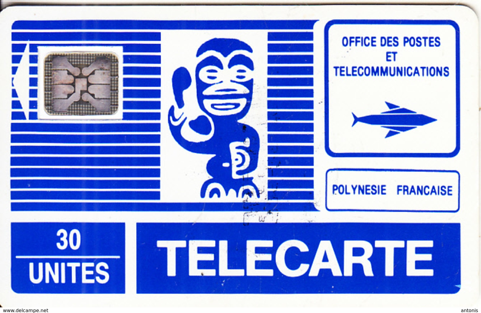 FRENCH POLYNESIA - TIKI Bleu(PF3)(petit Logo), First Issue 30 Units, Chip SC4, CN : 17383, Tirage %15000, 12/88, Used - Polynésie Française